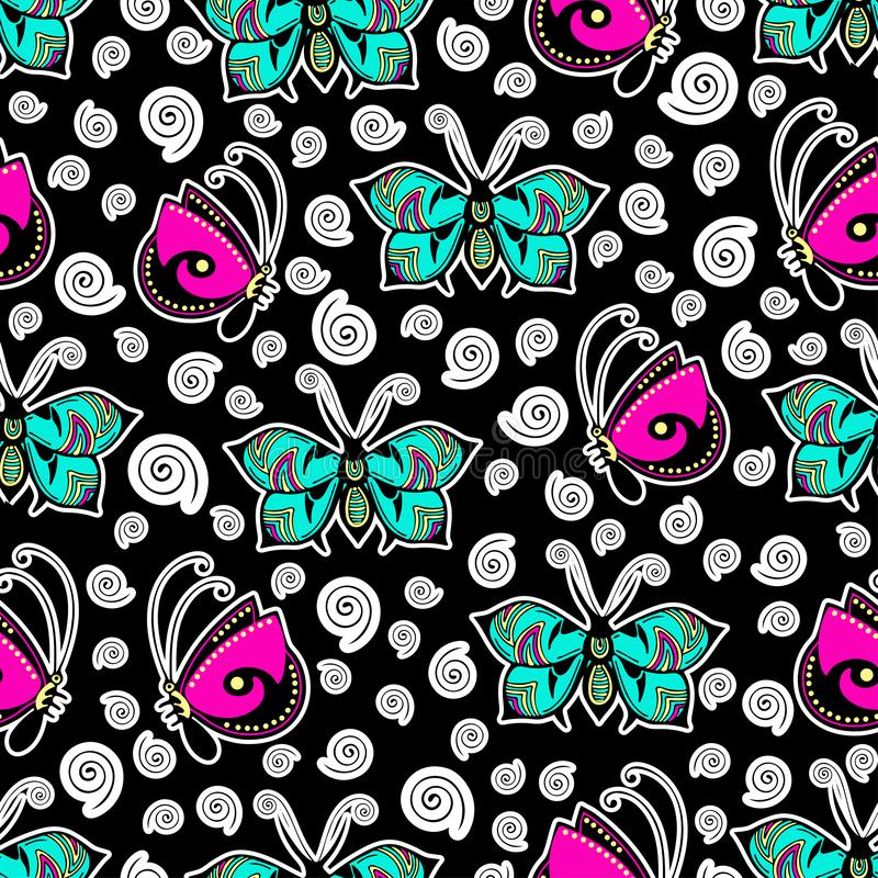Abstract butterflies seamless pattern, hand drawing, textile print, vector illustration. Patterned colorful insect with wings and. White stroke on black royalty free illustration
