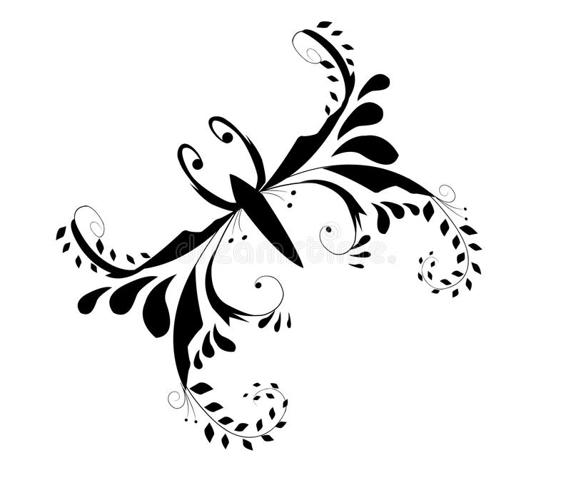 Abstract butterfly. Tatoo on white stock illustration