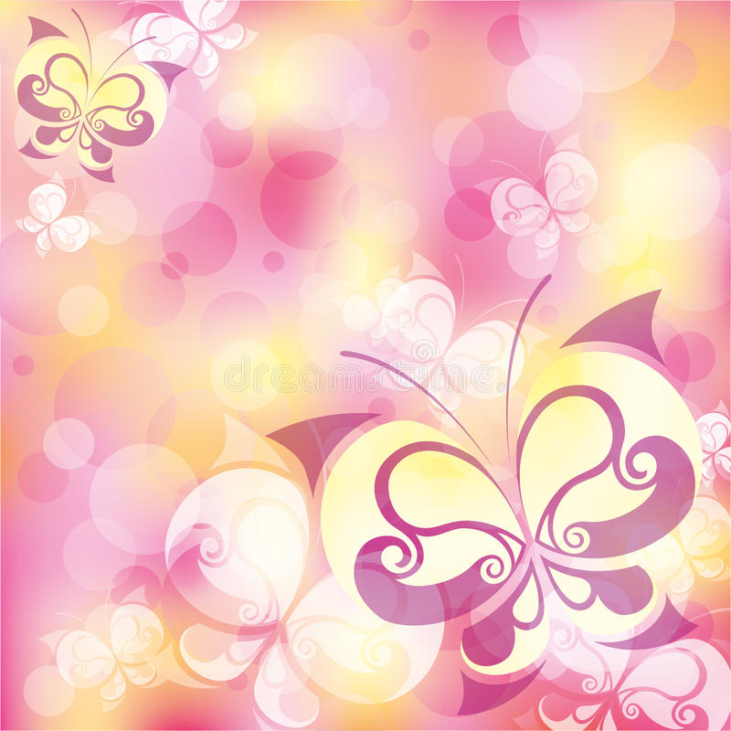 Abstract with butterfly. Beautiful pink abstract background with elegant butterfly stock illustration