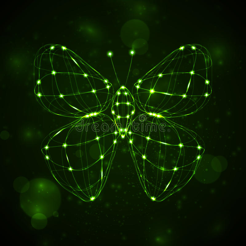 Abstract butterfly. Shiny abstract butterfly, technology energy illustration stock illustration