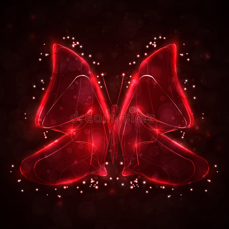 Abstract butterfly. Shiny abstract butterfly, futuristic wave illustration stock illustration