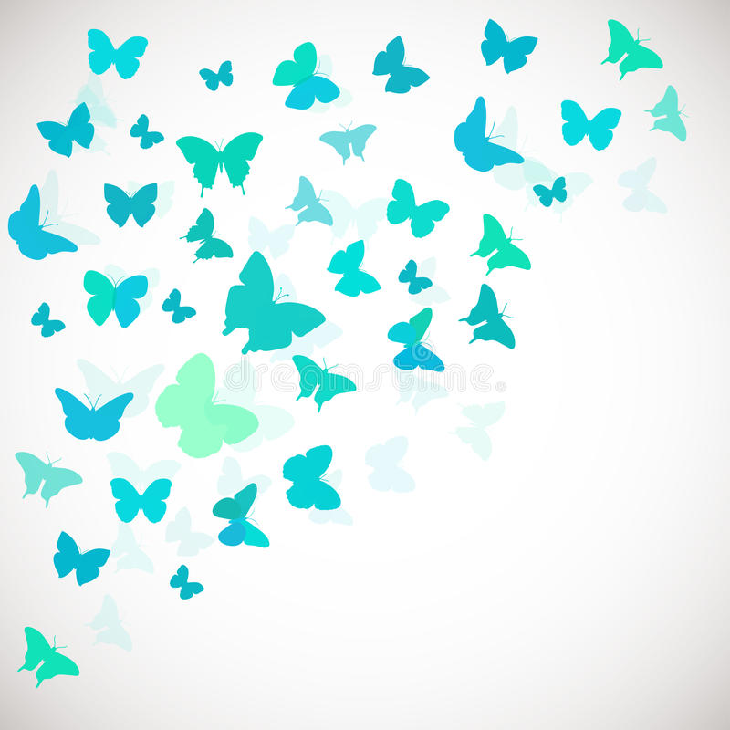 Abstract Butterfly Background. Vector illustration of blue butterflies. Coerner background for wedding, greeting, invitation card, poster, banner and other vector illustration