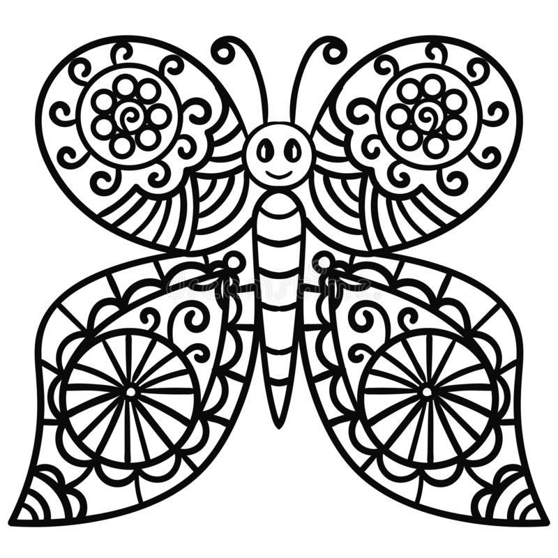 Abstract butterfly for coloring book for adults. Doodle. Abstract butterfly for coloring book for adults. Cartoon linear Doodle. Vector illustration stock illustration