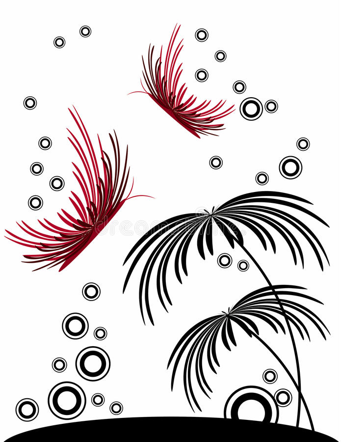 Abstract butterfly with flower or tree. Illustration royalty free illustration