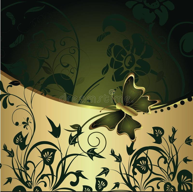 The abstract butterfly on a gold background stock illustration
