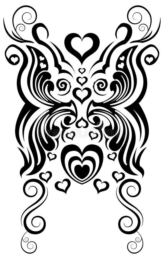 Abstract butterfly and heart tribal tattoo vector stock illustration