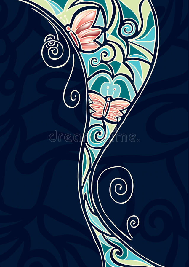 Abstract Butterfly illustration. With swirls royalty free illustration