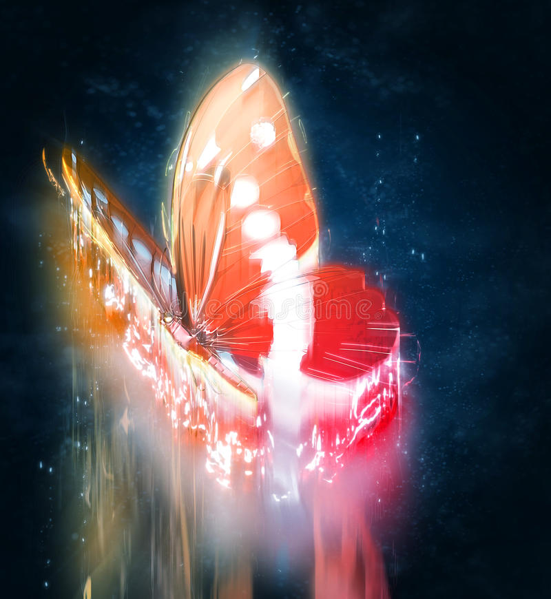 Abstract butterfly. With light effect stock illustration