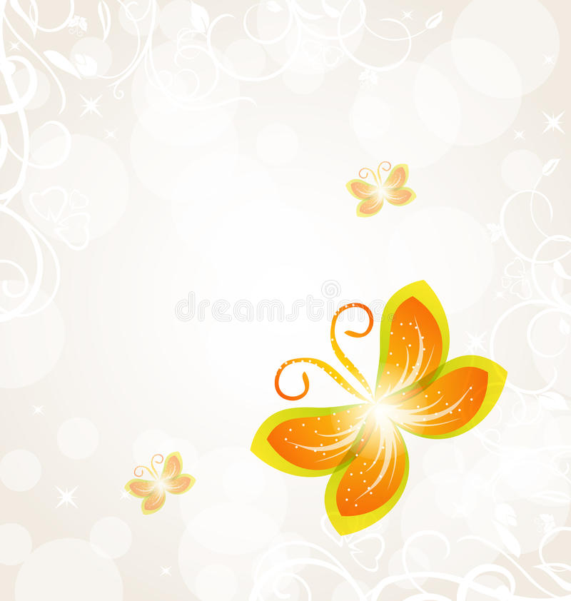 Abstract butterfly on ornamental background. Illustration abstract butterfly on ornamental background - vector royalty free illustration