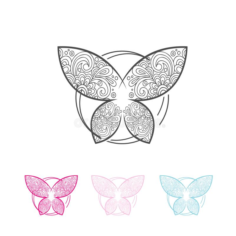 Abstract butterfly ornate decorative symbol. Decorative Round circle Frames, Butterflies Symbols with Abstract Calligraphic Floral Pattern, Vector abstract vector illustration