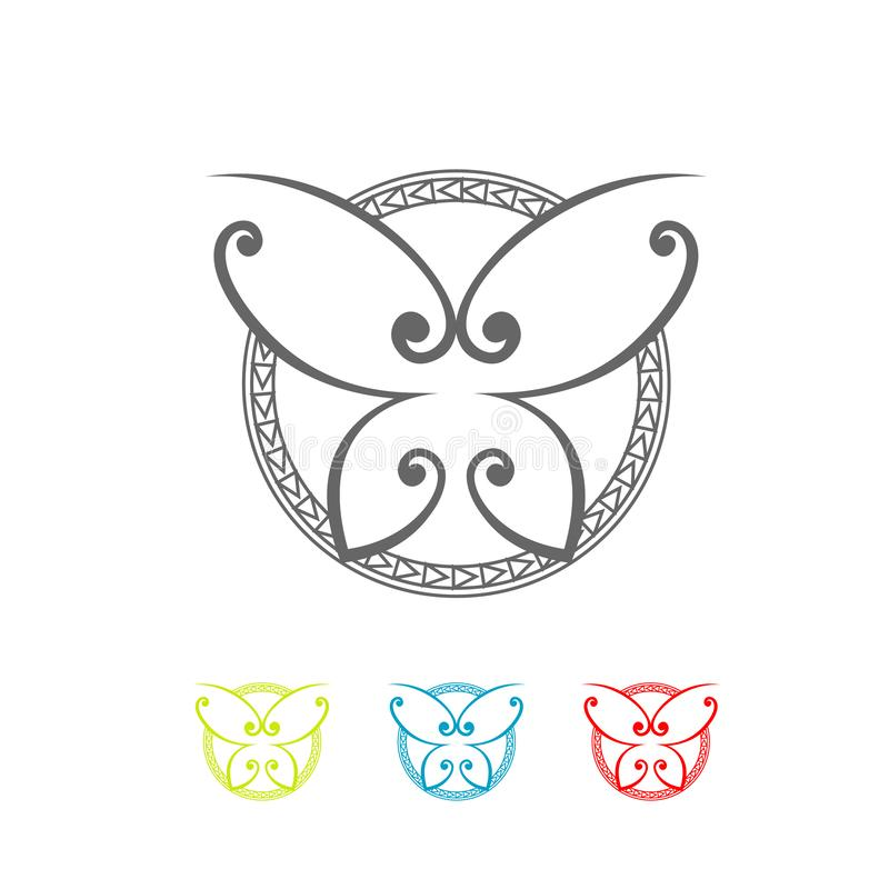 Abstract butterfly ornate decorative symbol. Decorative Round circle Frames, Butterflies Symbols with Abstract Calligraphic Floral Pattern, Vector abstract royalty free illustration