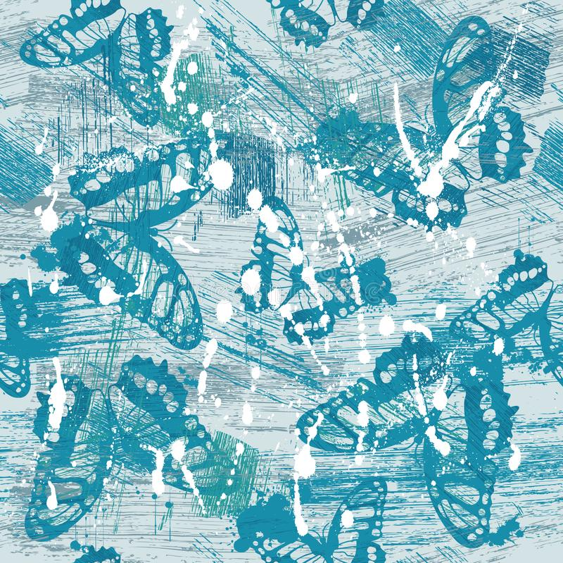 Butterfly Grunge Abstract Seamless Vector Repeating Pattern vector illustration
