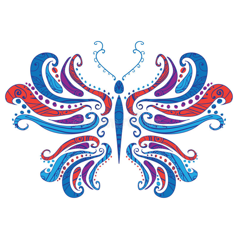 Abstract butterfly, vector illustration. With ornament vector illustration
