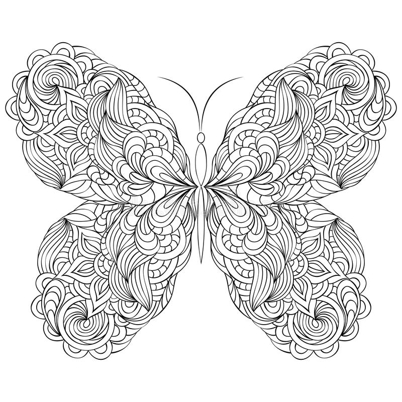 Abstract butterfly on white background. Vector illustration of abstract butterfly on white background stock illustration