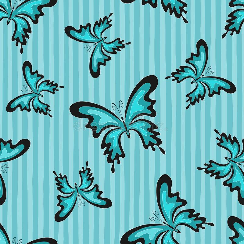 Abstract butterflys on the blue stripes background. Vector Seamless Pattern royalty free illustration