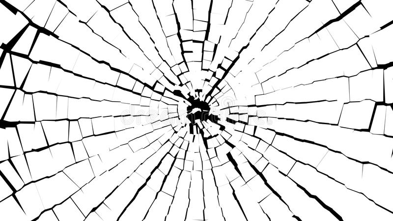 Abstract BW pieces of broken white glass over black stock images