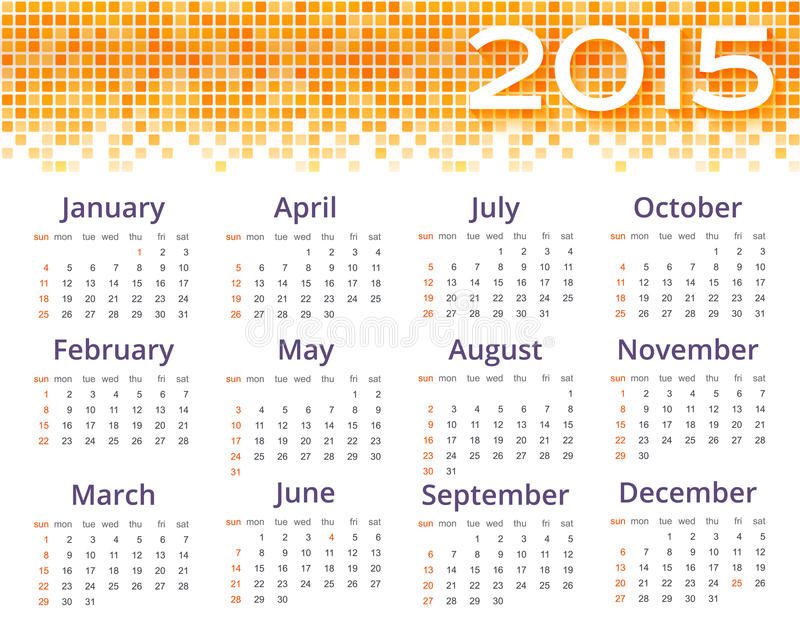 Abstract 2015 Calendar With Yellow Pixel Border. Stock Vector