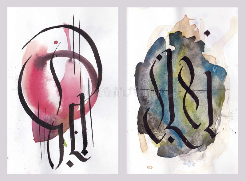 Abstract calligraphy arabesque illustration on colorful watercolor background royalty free illustration