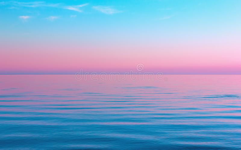 Abstract Calm Blue With Pink Seascape Background royalty free stock images