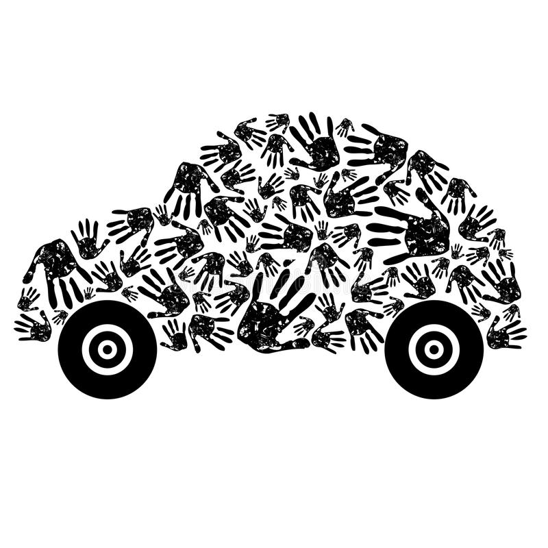 Abstract car. Made from hands royalty free illustration
