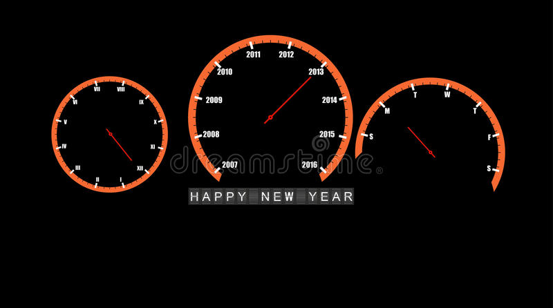 Abstract car clocks Happy new year 2013 vector. Abstract car clocks Happy new year 2013 royalty free illustration