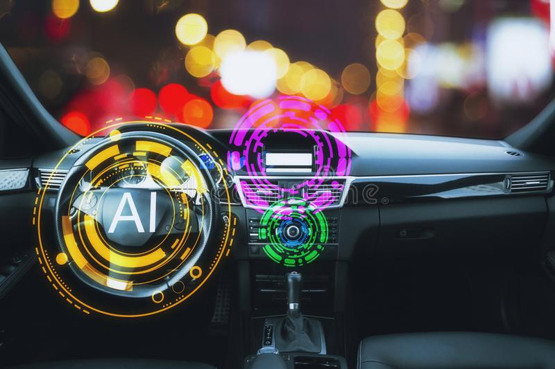 Artificial intelligence and tech concept. Abstract car interior with glowing AI interface. Artificial intelligence and tech concept. 3D Rendering stock images