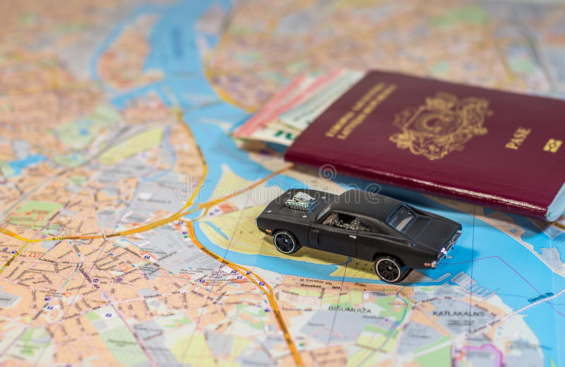 Abstract - car, money and map - ready to travel. Across the world royalty free stock photos