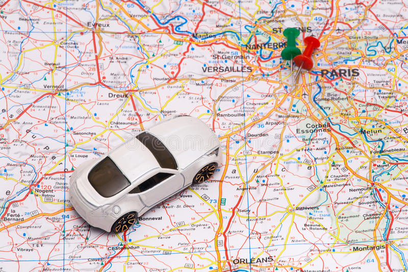 Abstract car travel. Abstract car travel on a map stock photography