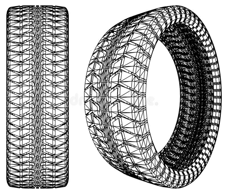 Abstract Car Wheel Tire Vector 10 stock illustration