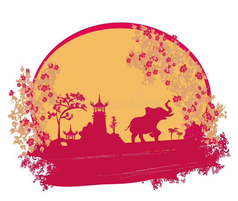 Abstract card with Asian buildings and elephant vector illustration