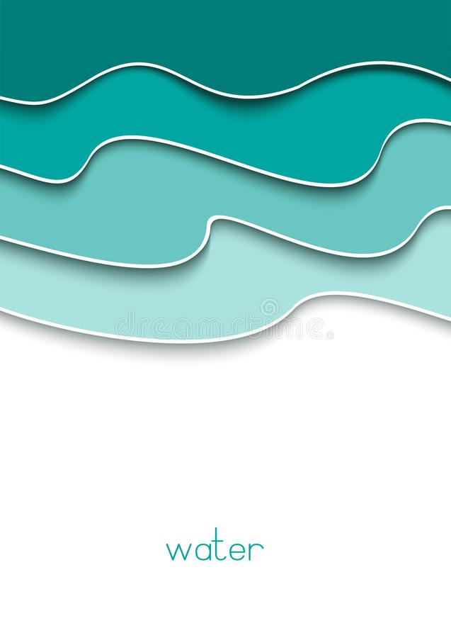 Abstract card with a4 blue waves template on white background for booklet design. Paper cut template layout. Flyer, banner. Vector illustration royalty free illustration