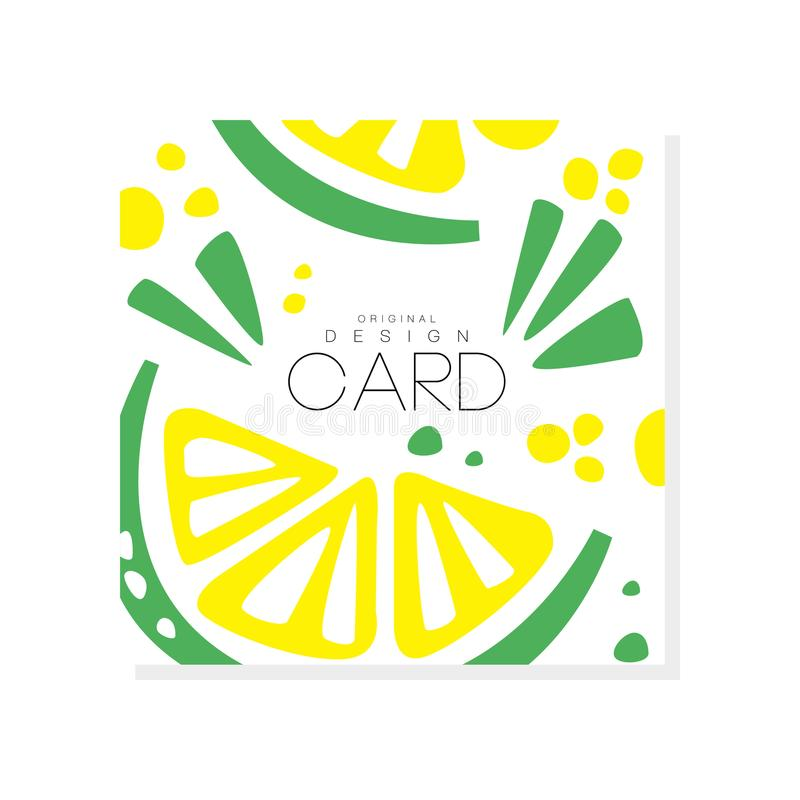 Abstract card with slices of juicy lime Healthy nutrition. Organic and tasty food. Tropical fruit. Eco product. Colorful stock illustration