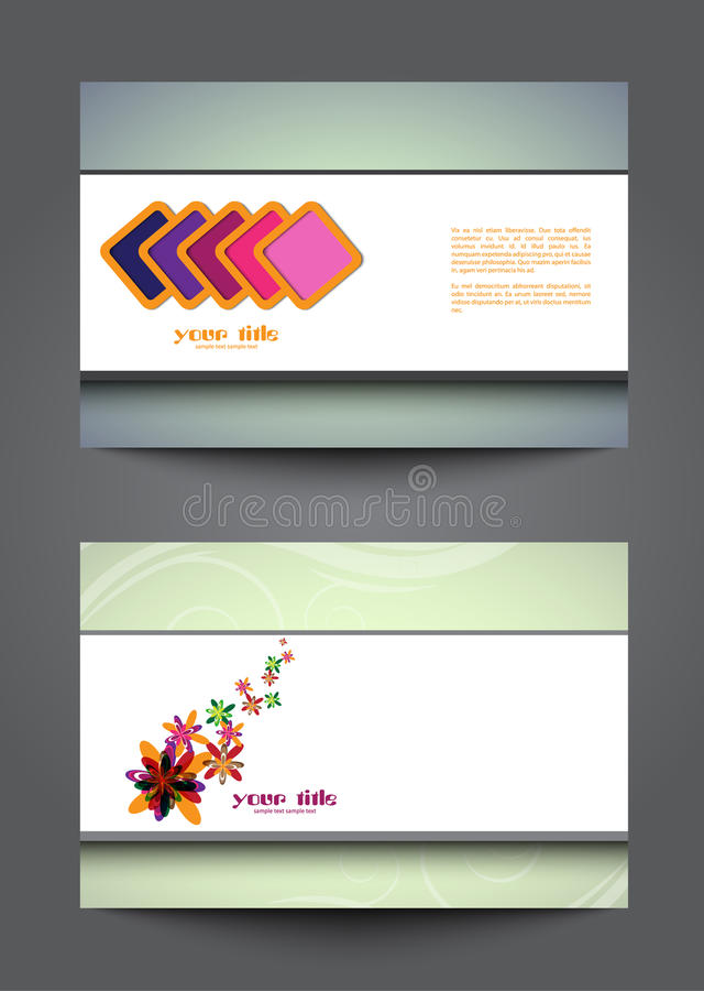 Abstract cards on grey background stock illustration