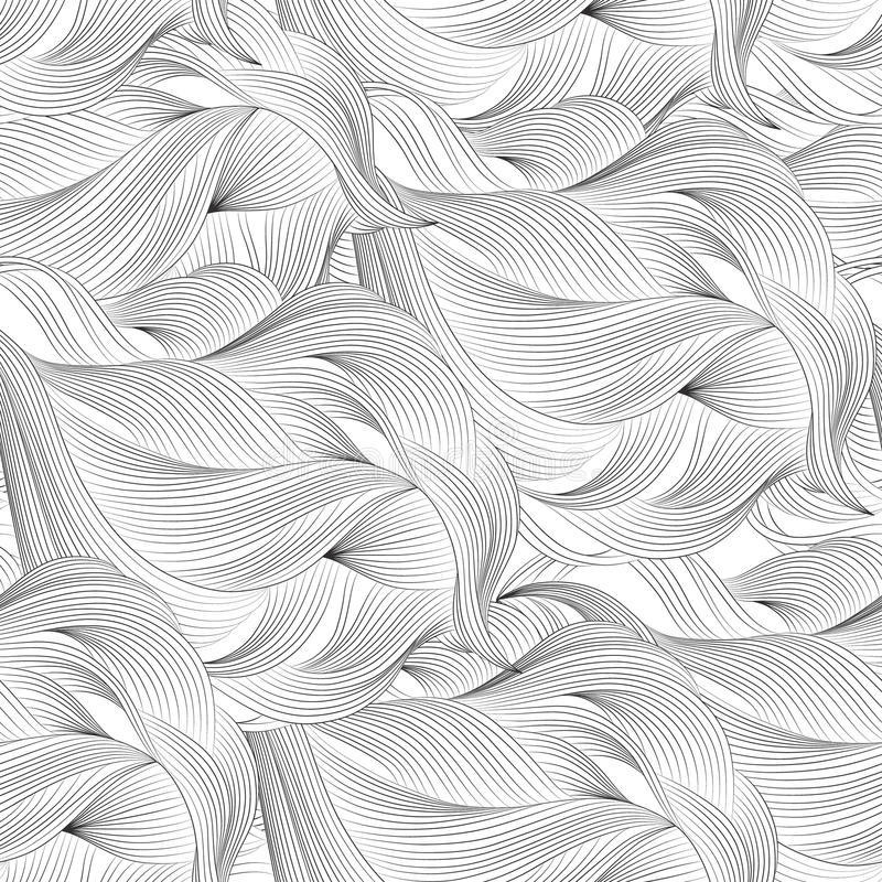 Abstract cartoon black white background, wallpaper. Doodle pattern sea waves, ocean, river, wind. Seamless texture. Abstract cartoon black white background royalty free illustration