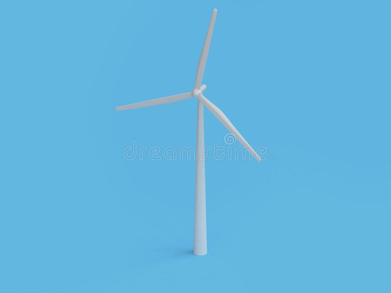 Abstract cartoon style wind turbine minimal blue background 3d render,renewable energy environment save earth royalty free illustration