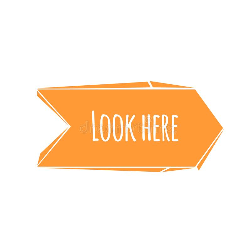 Free Abstract Cartoon Trendy Design Orange Broken Arrow With Look Here Dummy Phrase. Flat Style Modern Icon. Stock Images - 104458884