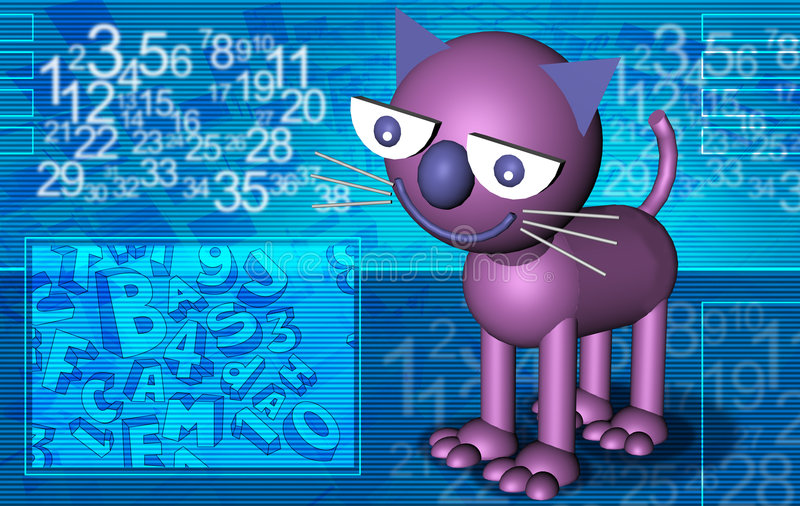 Download Abstract cat violet stock illustration. Image of numerals - 8224840