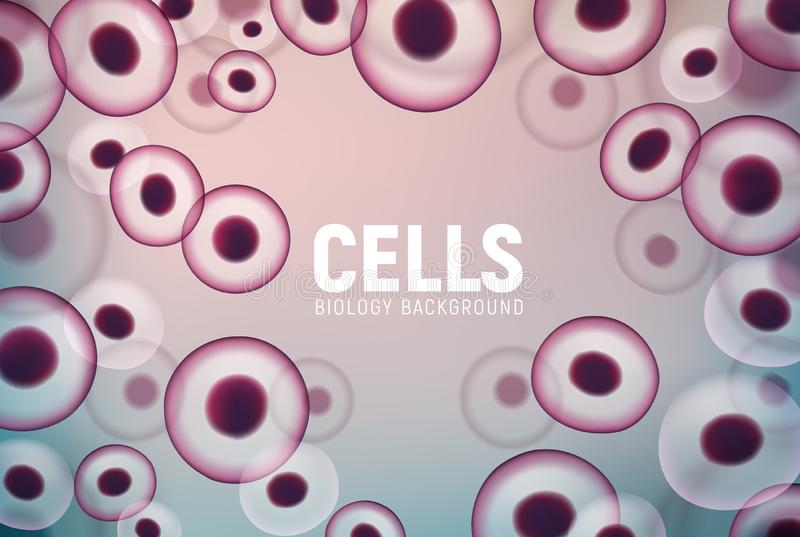 Abstract cell background, human biology science medical nucleus. Vector cell virus stem royalty free illustration