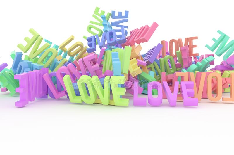 Abstract CGI typography, bunch of word represent love. Wallpaper for graphic design. Pattern, rendering, caption & artwork. stock illustration