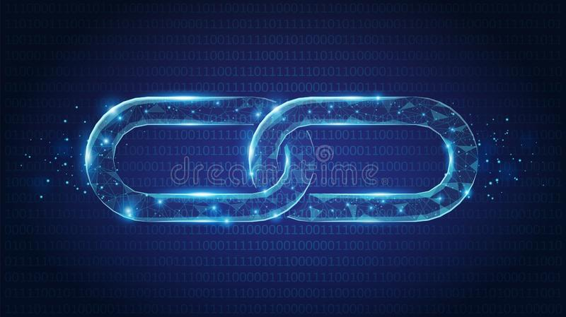Abstract Chain links low poly consisting of points, lines, and shapes on dark blue background. Vector wireframe concept. stock illustration