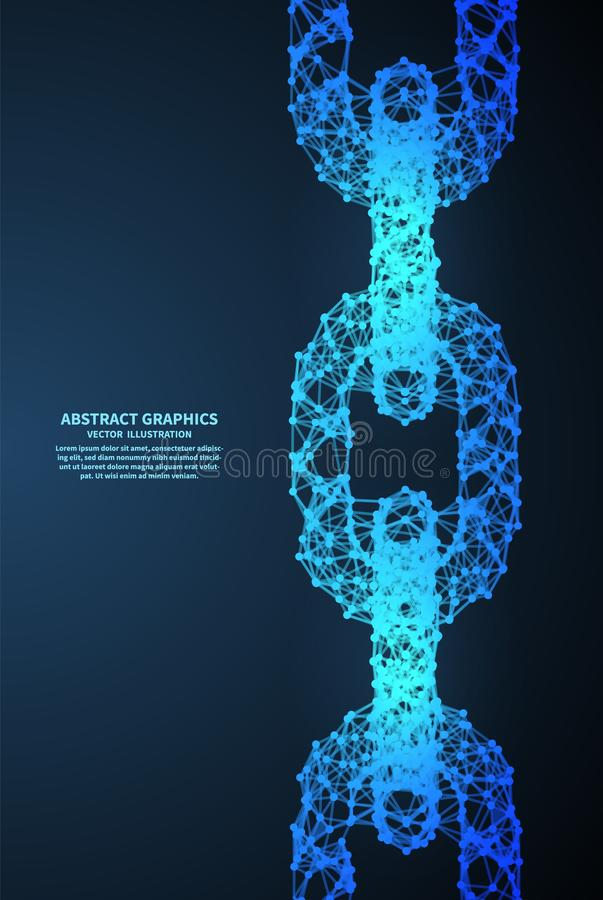 Free Abstract Chain, Vector Illustration. Network Connections With Points And Lines. Abstract Technology Background Stock Photo - 111369470