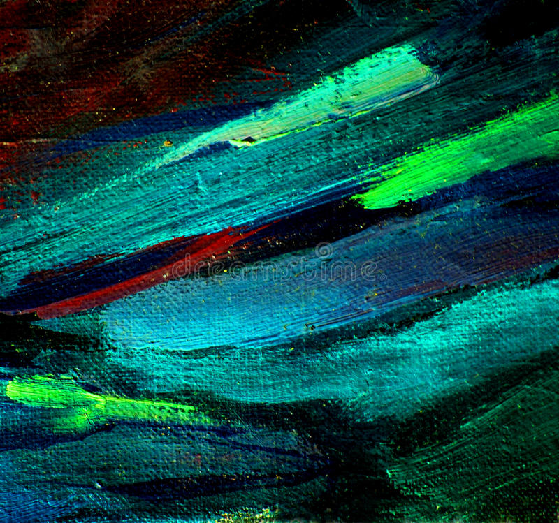 Abstract chaotic painting by oil on canvas, illustration, backg. Round royalty free stock photo
