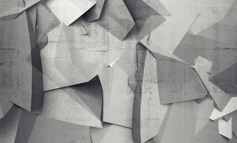 Abstract chaotic polygonal fragments on gray concrete wall vector illustration