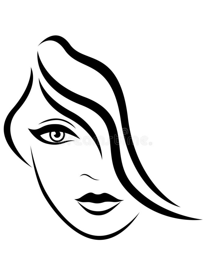 Abstract face of young lady royalty free illustration
