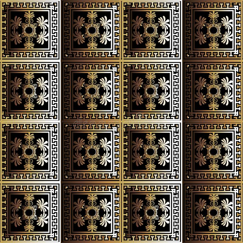Abstract checkered floral 3d greek vector seamless pattern. Ornamental geometric squares background. Repeat trendy backdrop. stock illustration