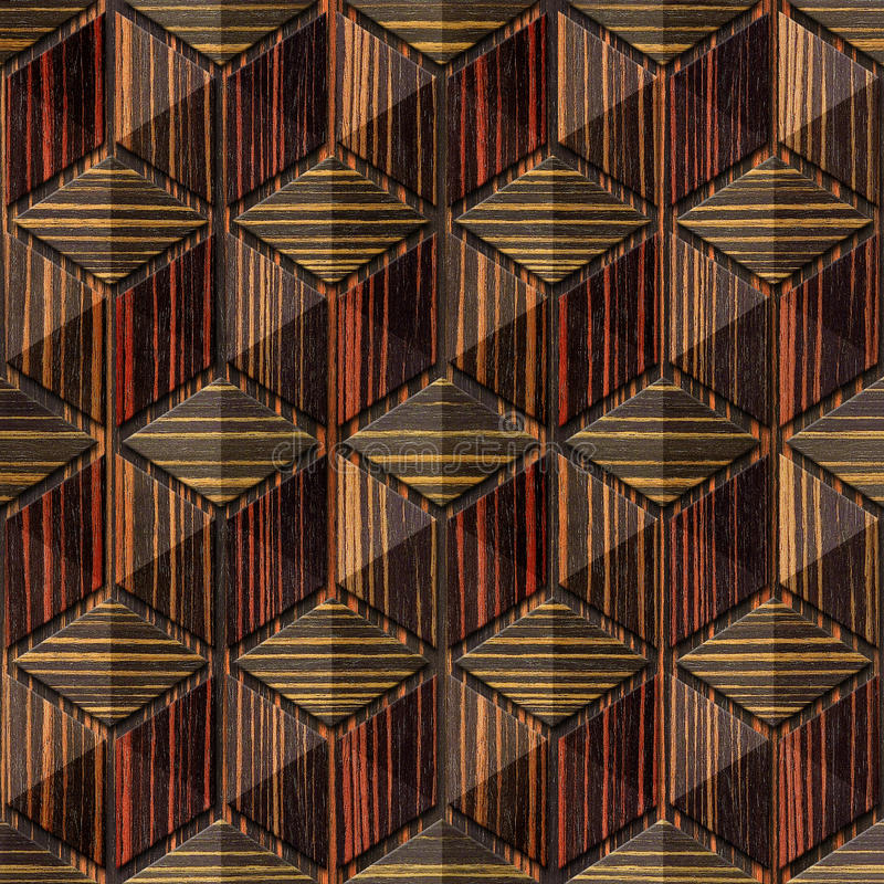 Abstract checkered pattern - seamless background - Ebony wood royalty free illustration