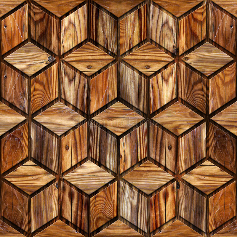 Abstract checkered pattern - seamless background - wood texture royalty free illustration