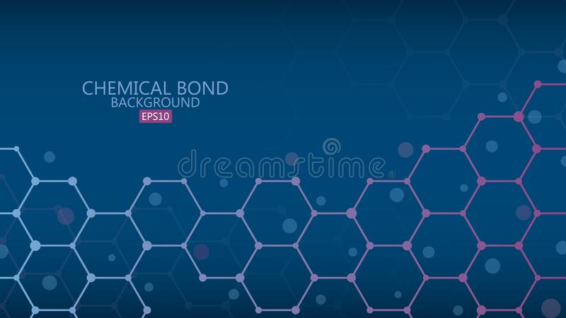 Abstract chemical bond background, science concept, vector illus royalty free illustration
