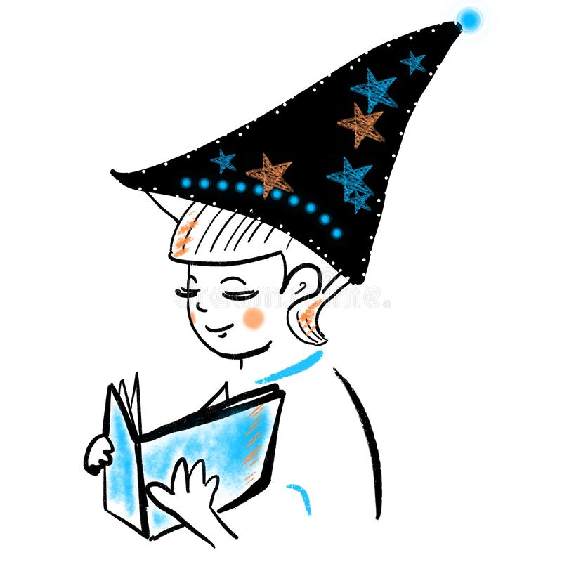 Abstract child in hat with stars reading a book. The magic of reading. Self-education, first kids books. Boy reads fairy tales. And stories. Young wizard royalty free illustration