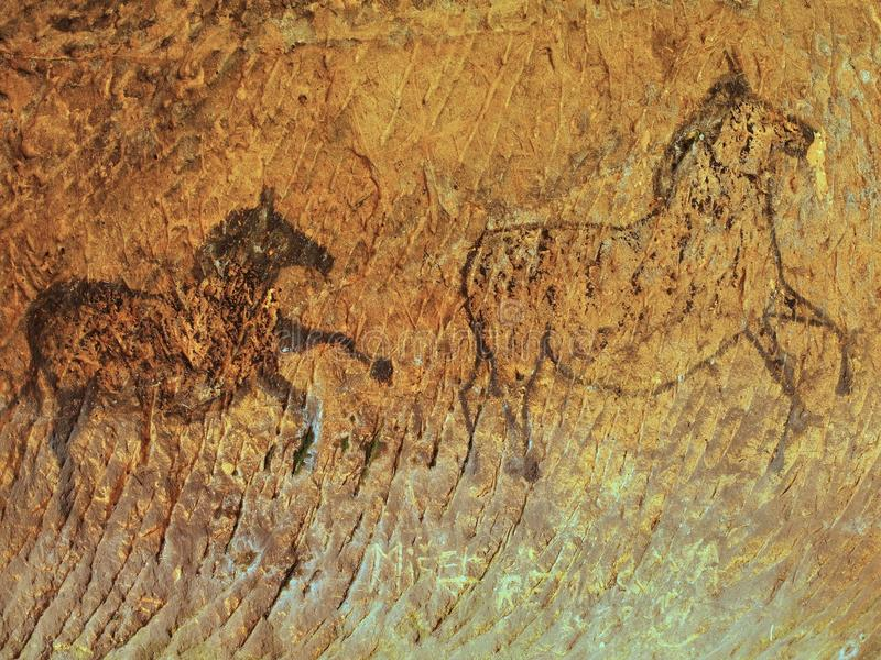 Abstract children art in sandstone cave. Black carbon paint of horses. On sandstone wall, copy of prehistoric picture royalty free stock photography